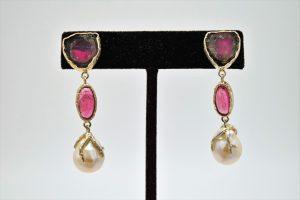 Watermelon tourmaline, pink tourmaline, and baroque pearl earrings